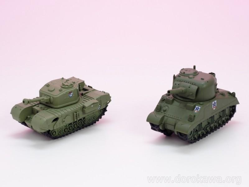 [レビュー]食玩 F-toys エフトイズ ガールズ&パンツァー劇場版 プルバックタンク M4シャーマン チャーチル 摘み